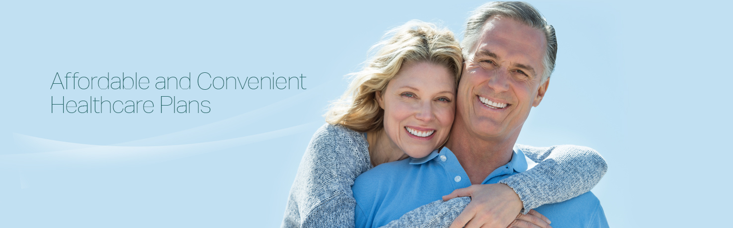 Portrait of a man and woman on blue background for healthcare insurance